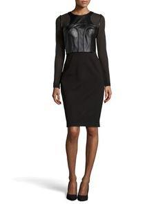 Vestido Catherine Deane Riley de piel y tela jersey, color negro