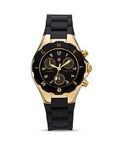 """Reloj Michele """"Tahitian"""" con correa negra, 35 mm"""