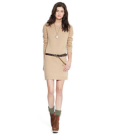 The long-sleeve Polo Ralph Lauren Suede-Patch Wool \u0026 Cashmere Sweater Dress  makes for an effortless casual wear. Available in Gray or Camel colors.