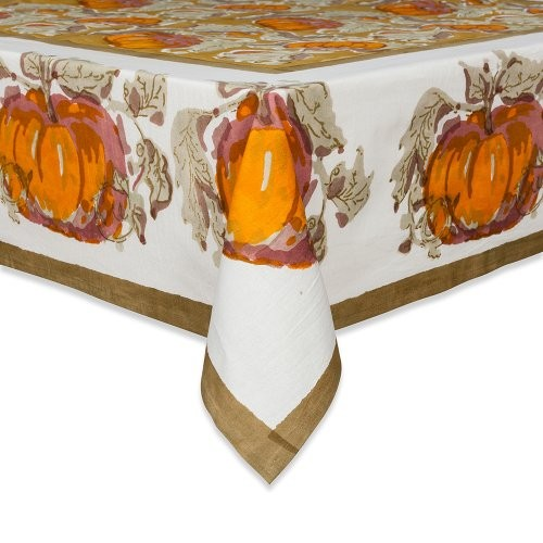 Going Back To Pumpkin Prints, This Couleur Nature Pumpkin Tablecloth, 71 By  106 Inch, Orange/Green Is Rich In Autumn Tones For A Festive Décor.