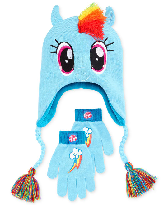 Fans of my My Little Pony will definitely love the Rainbow Dash Hat    Gloves Set from Macy s. The colorful hat features a mane appliqués with  Rainbow Dash s ... cf031fa1587