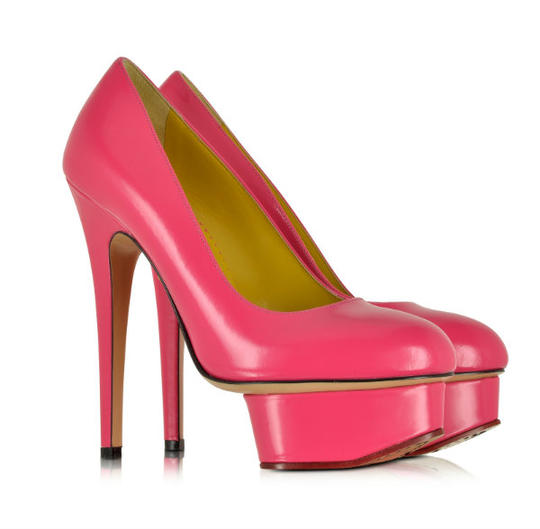 Charlotte Olympia 'Dolly' Shocking Pink Leather Platform Pumps