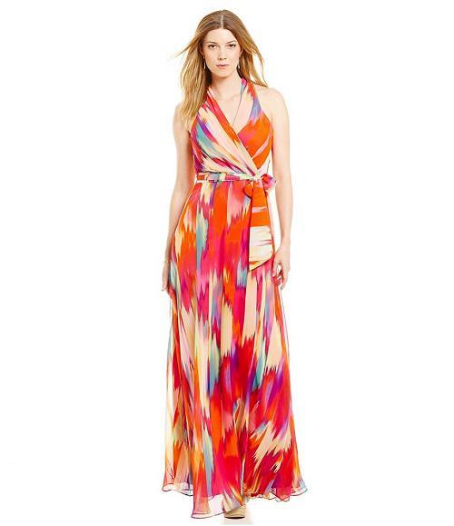 511a324d802f Leslie Fay V-Neck Tie-Waist Printed Chiffon Maxi Dress
